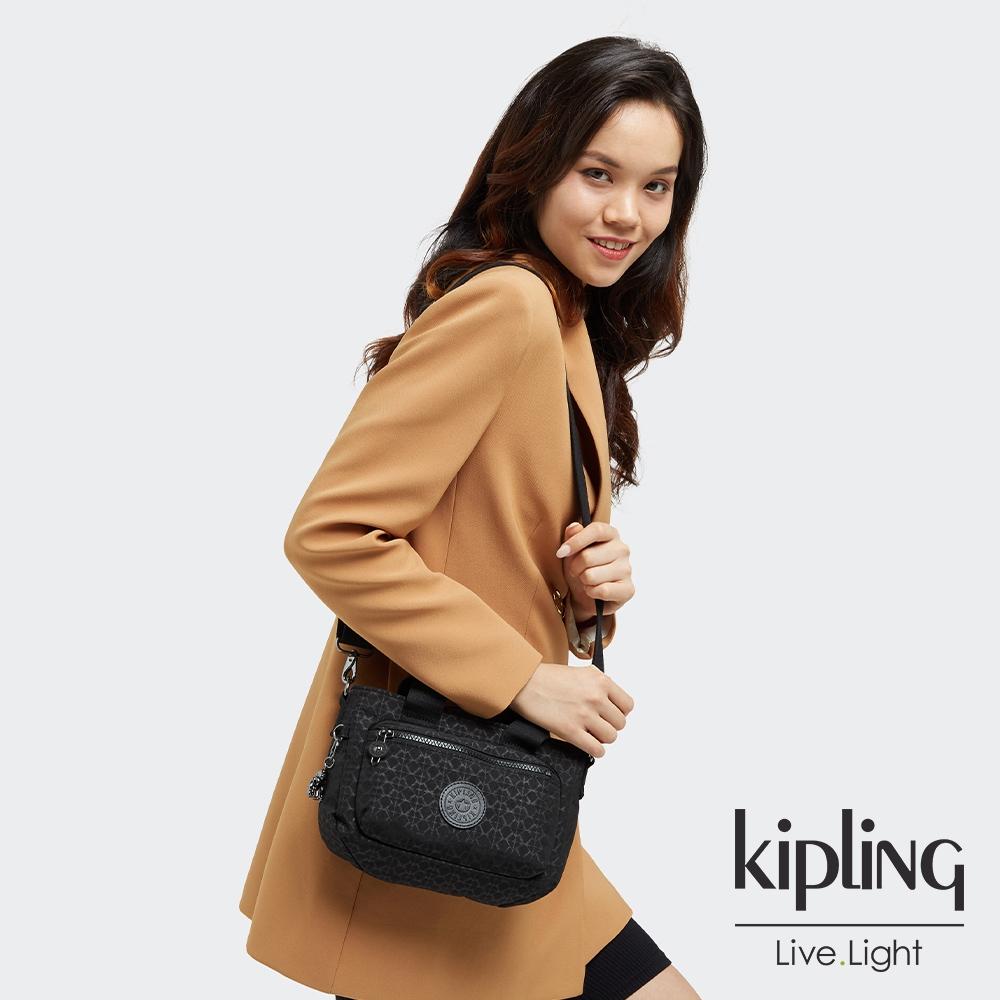 Kipling 經典黑菱格紋印花簡約大方手提肩背包-MIHO MINI