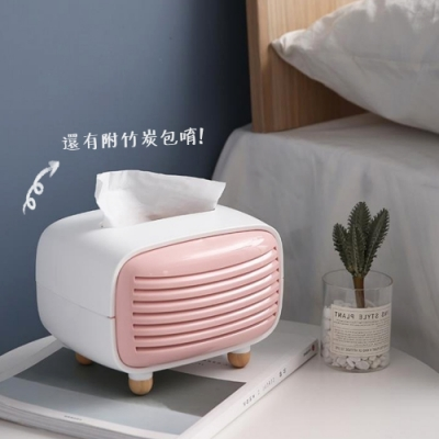 【Cap】可愛復古竹炭功能收音機面紙盒(紙巾盒/衛生紙盒)