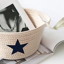 收納職人 簡約北歐手感棉線編織五角星置物籃/收納籃(杏底丈星)