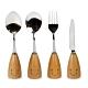 Caldo卡朵生活 微笑日子不鏽鋼木柄餐具四件組 product thumbnail 1