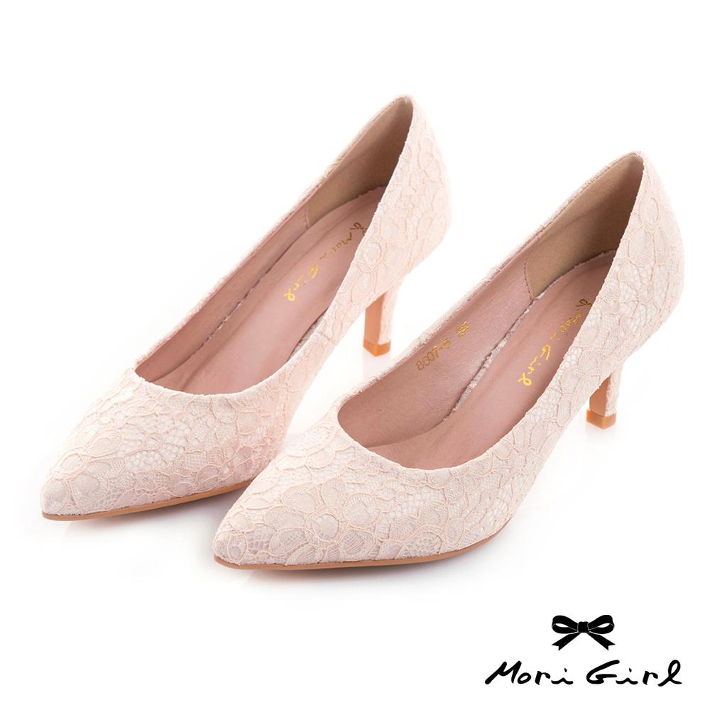 Mori girl 2WAY可拆式蝴蝶結蕾絲中低跟鞋 粉
