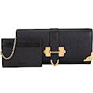 PRADA Cahier 金屬邊附證件夾牛皮釦式長夾(黑色)