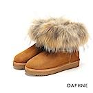 達芙妮DAPHNE 短靴-素色蓬鬆毛海靴筒長毛內裡短靴-棕