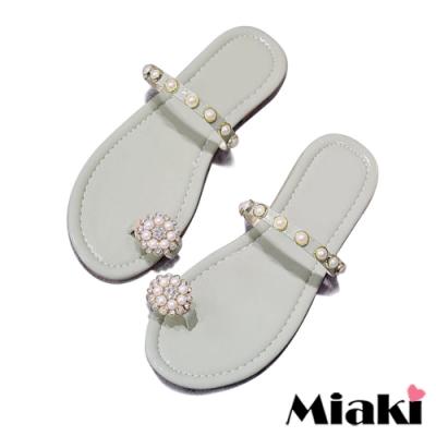 Miaki-拖鞋珍珠韓風平底涼鞋-綠
