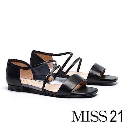 涼鞋 MISS 21 個性曲線一字造型拼接羊皮平底涼鞋-黑