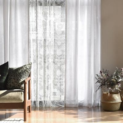 完美主義 純白類亞麻落地窗簾-2入組/長窗簾/簾子/韓國製-130x230cm
