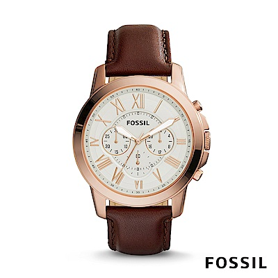 FOSSIL GRANT 褐色奢華皮革計時男錶
