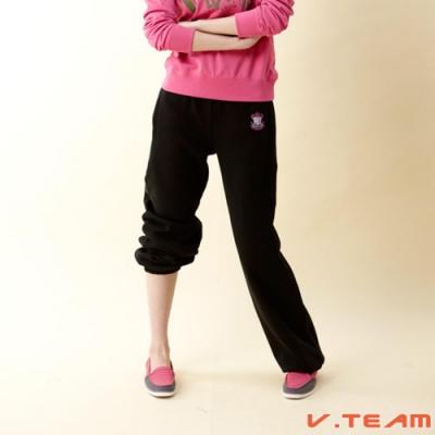 【V.TEAM】女款刷毛長褲-縮口-黑