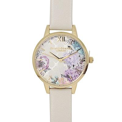 Olivia Burton 英倫復古手錶 閃亮格紋花園  米色真皮錶帶金框30mm