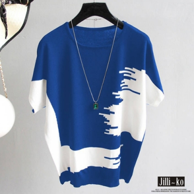 JILLI-KO 普普藝術風針織衫- 藍/白