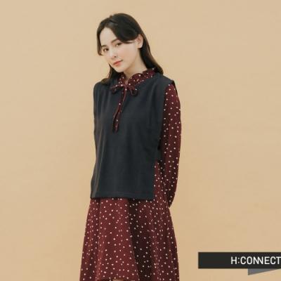 H:CONNECT 韓國品牌 女裝-兩件式圓點綁帶洋裝-紅