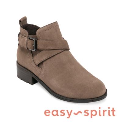 Easy Spirit-seGRACEE2 簡約皮帶式絨布帥氣短靴 -卡其色