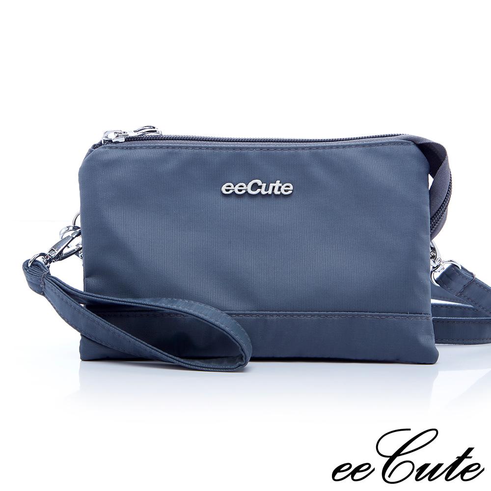 eeCute輕質感多用途隨身包(收納,手拿,側斜背)(簡約灰 )