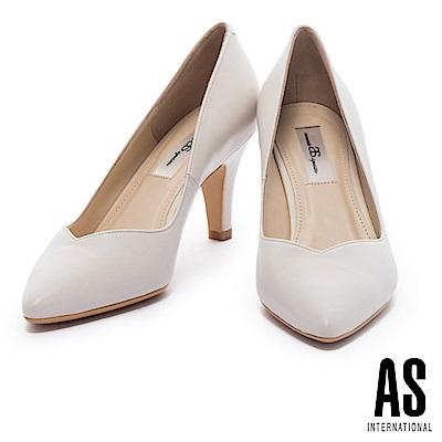 高跟鞋 AS 經典俐落純色全真皮尖頭高跟鞋-米