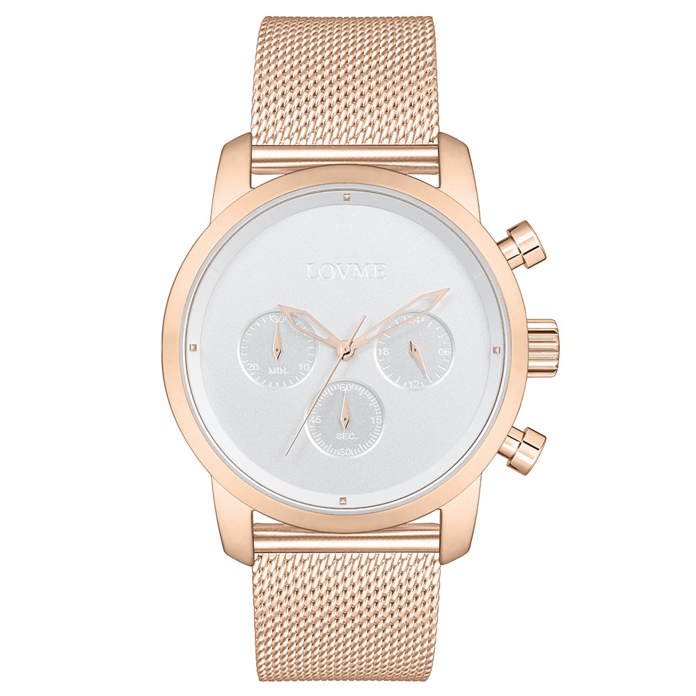 LOVME Stardust米蘭帶款時尚手錶-IP玫x白/43mm