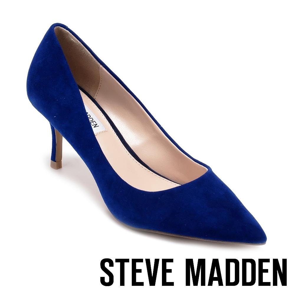 STEVE MADDEN-KITKAT 魅力簡約素面尖頭高跟鞋-絨深藍