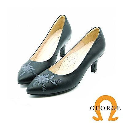 【GEORGE 喬治皮鞋】都會休閒  花朵刺繡真皮跟鞋-黑
