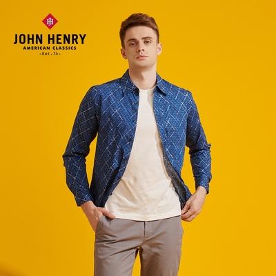 【JOHN HENRY】交錯線條獨特印花襯衫-藍