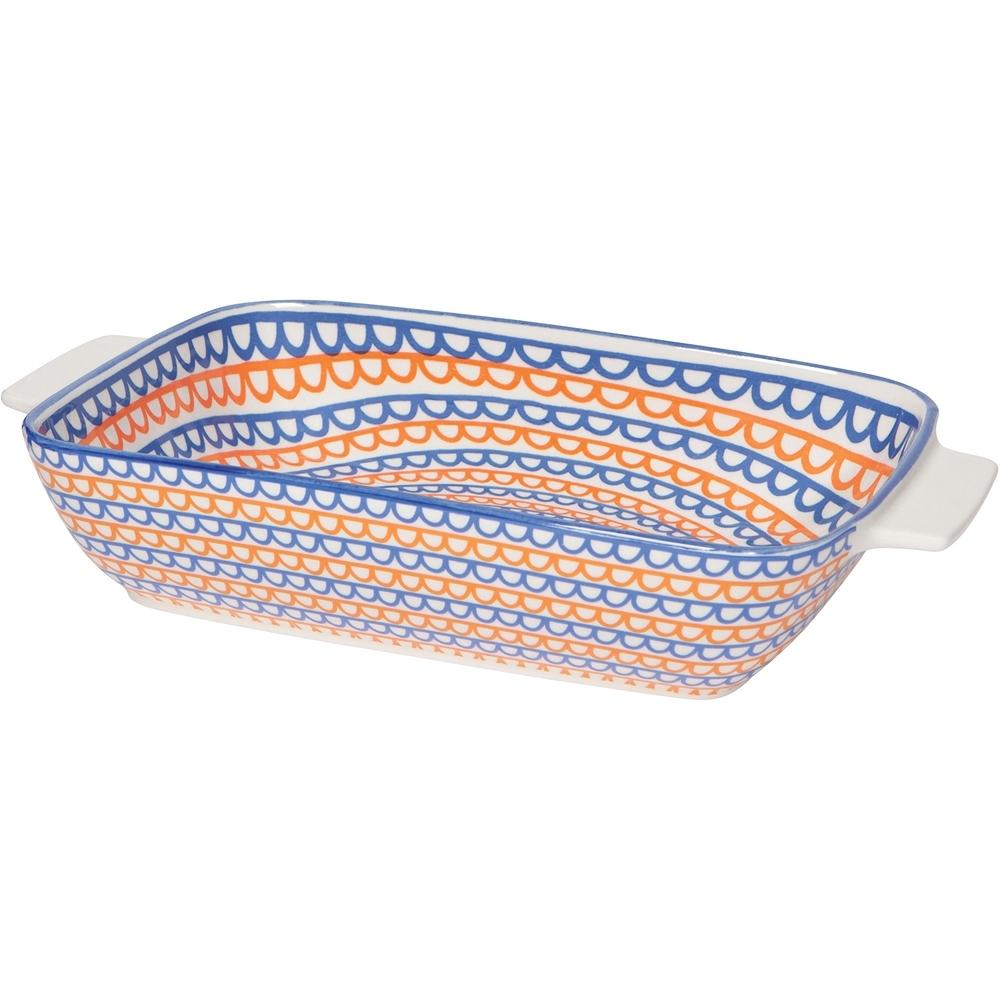 《NOW》圖騰長形深瓷烤盤(彩帶橘藍27cm)