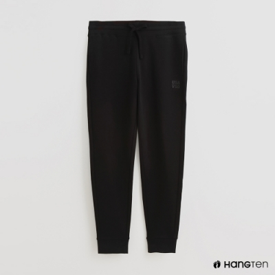 Hang Ten - 男裝 - 腰部鬆緊抽繩純棉運動長褲 - 黑