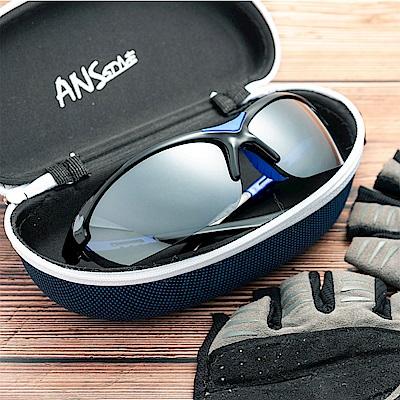 尚佰家 寶麗萊鏡片抗UV運動偏光太陽眼鏡-藍腳架白水銀(9705)