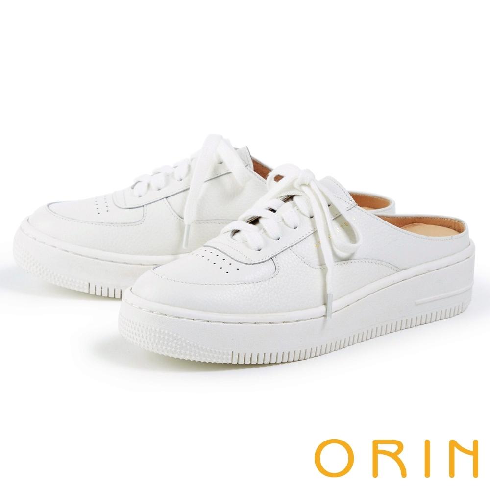 ORIN 真皮綁帶厚底穆勒 女 休閒鞋 白色