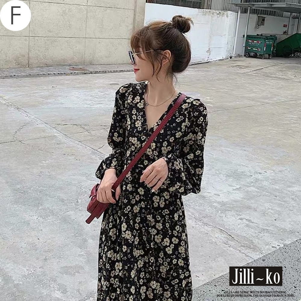JILLI-KO 復古風質感印花通季連衣裙-(多款任選) (F款黑色系)