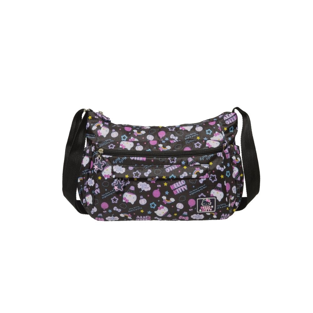 【Hello Kitty】悠遊星空-側背包-中-黑 KT01Q02BK