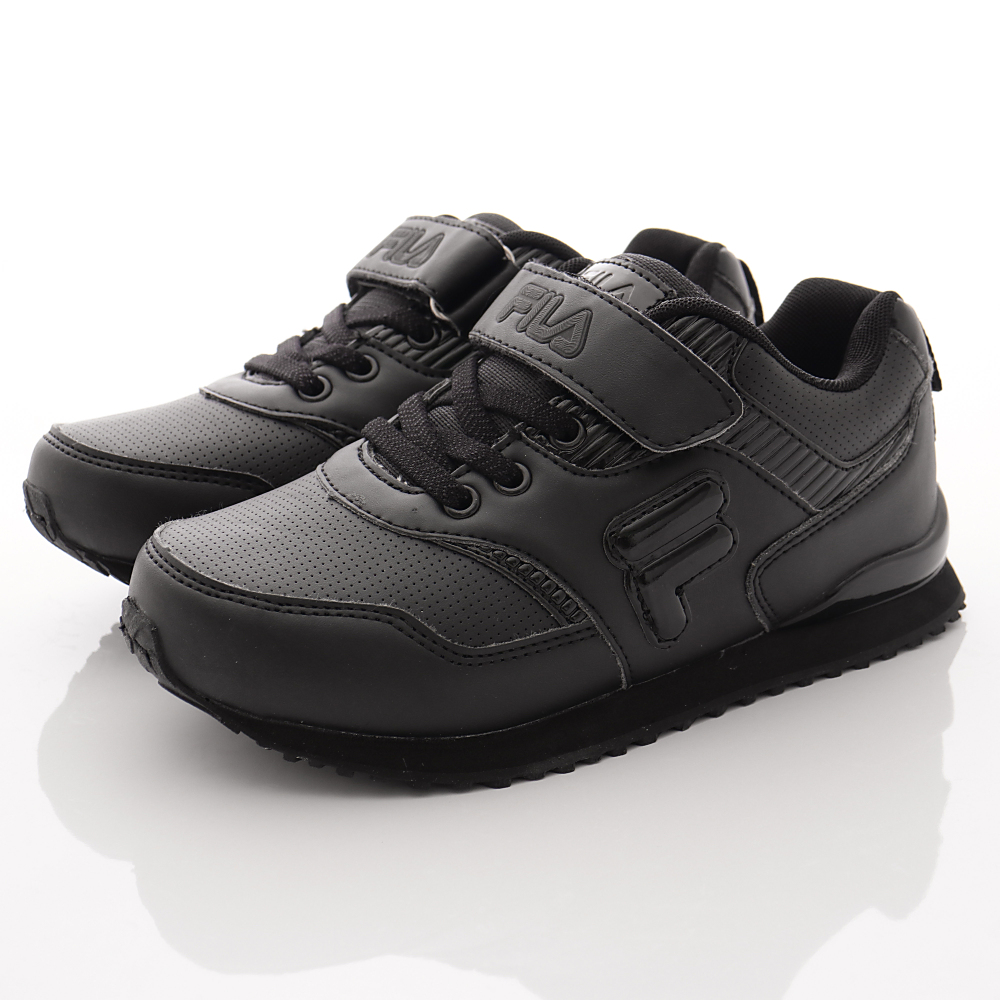 FILA頂級童鞋款 私校純黑慢跑款 EI13R-000黑(中大童段)