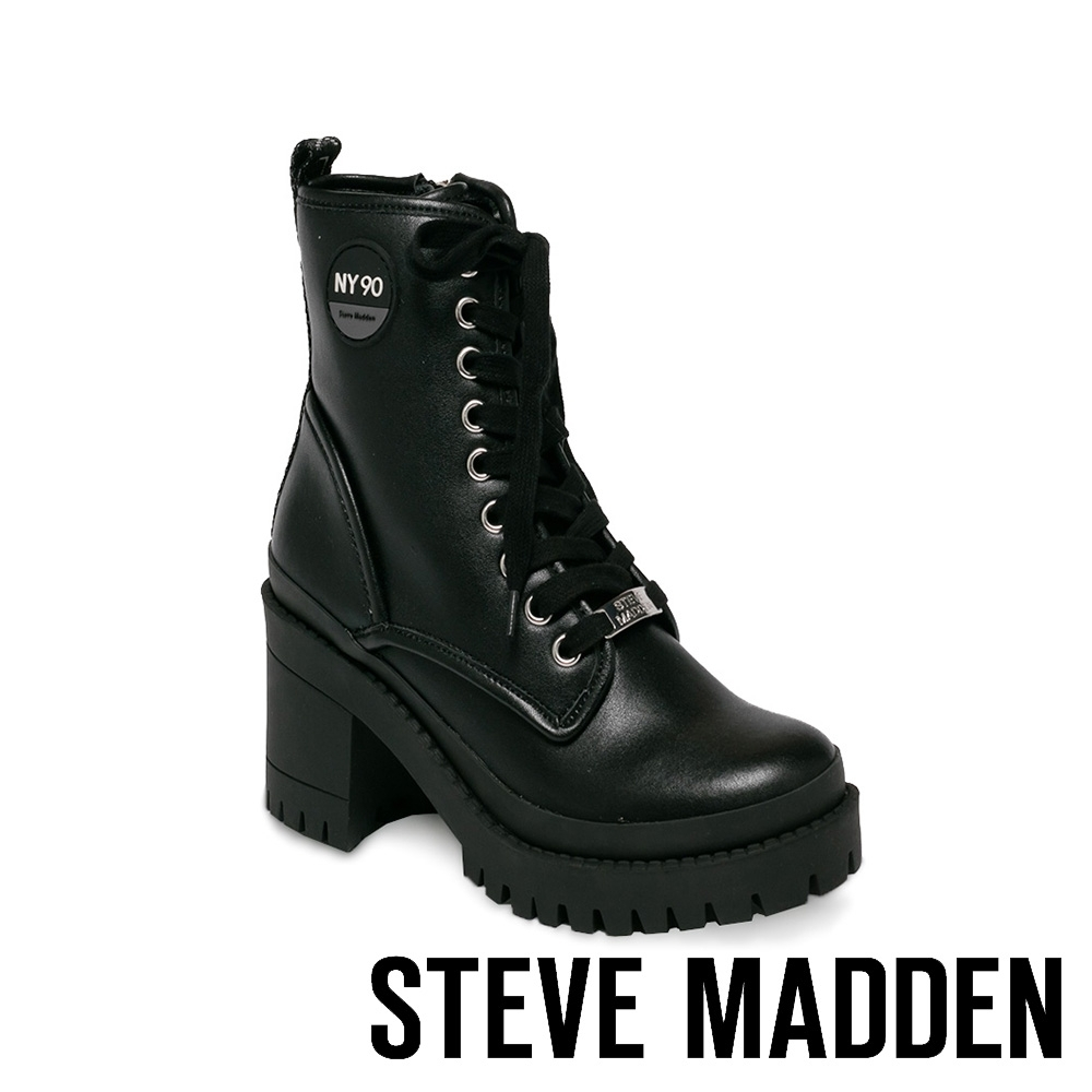 STEVE MADDEN-TIPPER 圓牌造型綁帶粗跟中筒靴-黑色