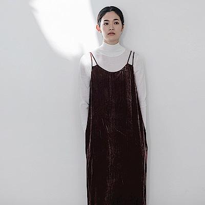 旅途原品_望月_原創設計立體褶飾絲絨吊帶裙-豆沙/黑