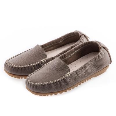 G.Ms. MIT系列-厚實牛皮莫卡辛休閒鞋-可可
