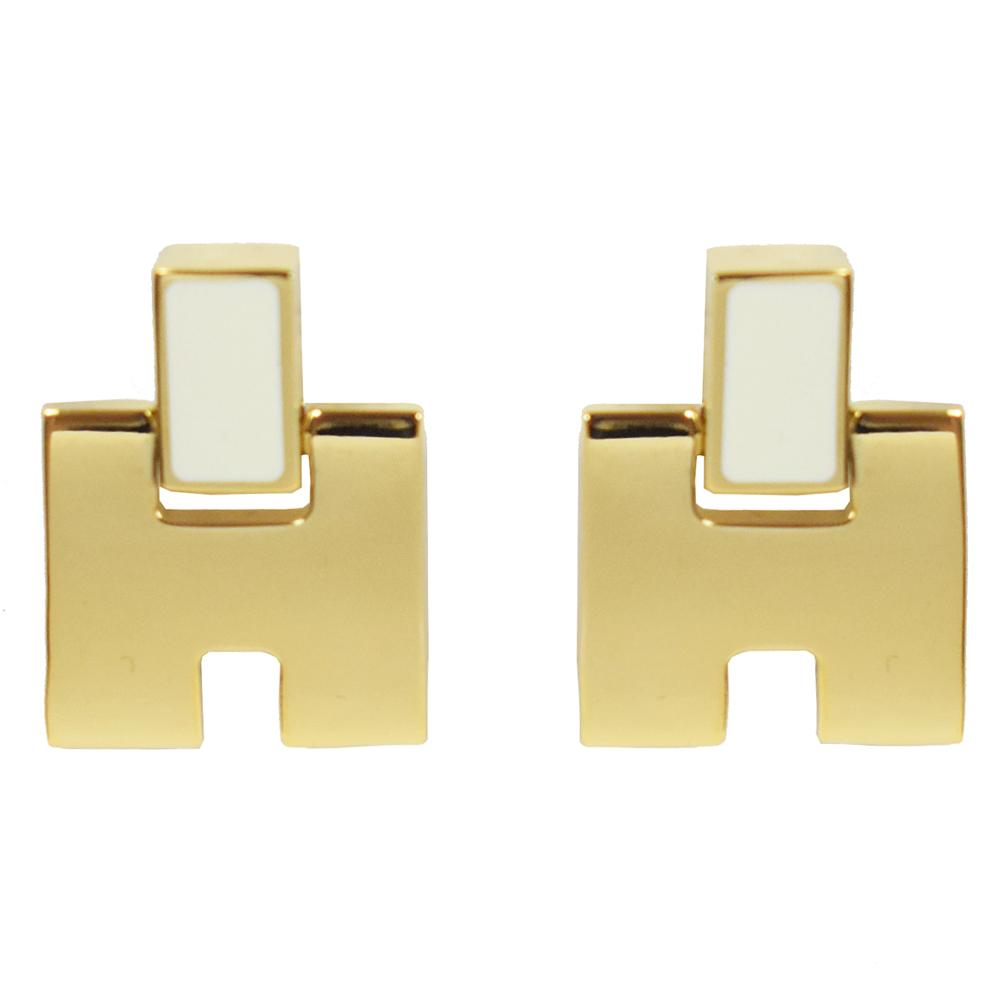 HERMES Eileen LOGO造型耳環(白/金)