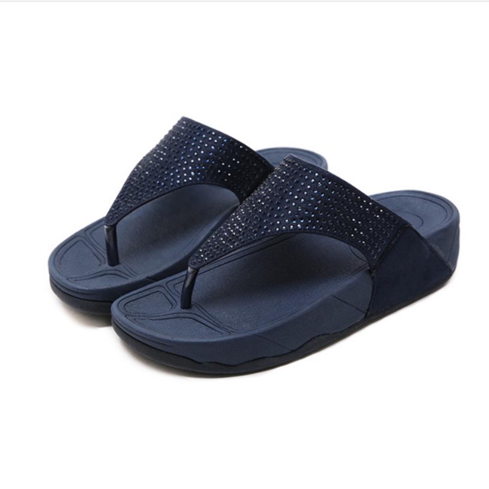 JMS-閃耀點點鑽飾舒壓夾腳厚底涼拖鞋-藍色