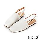 HERLS 隨性自在 全真皮釦環後帶小方頭涼鞋-白色
