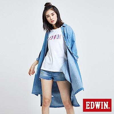 EDWIN 破壞加工刷色 長版牛仔襯衫-女-重漂藍