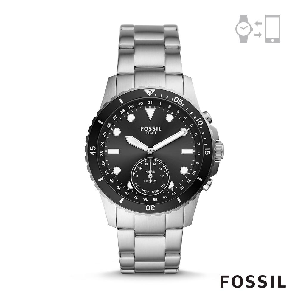 【FOSSIL】 HYBIRD 智能手錶 FB-01-不鏽鋼雅痞銀黑 42MM FTW1197