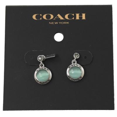 COACH 水鑽裝飾綠水晶墜飾耳環(銀)