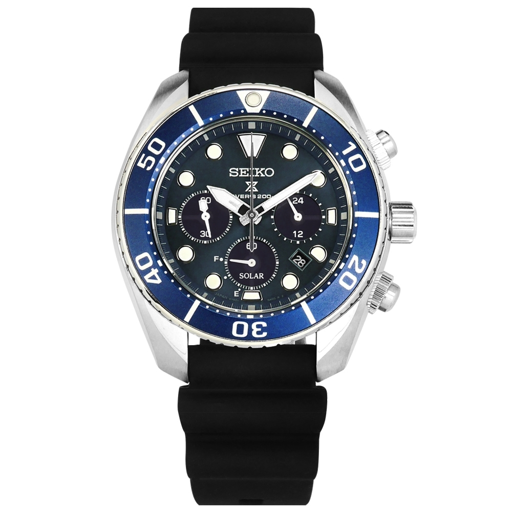 SEIKO 精工 PROSPEX 太陽能 潛水錶 防水200米 日期 矽膠手錶-藍色/44mm