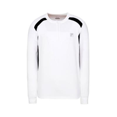 FILA 男抗UV吸濕排汗長袖T恤-白 1TET-5301-WT