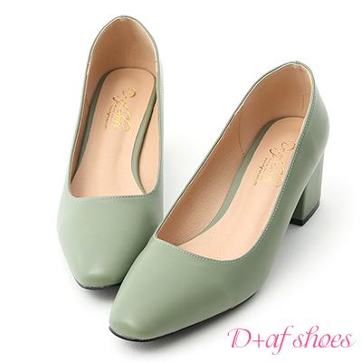 D+AF 知性色調.素面小方頭中跟鞋*綠