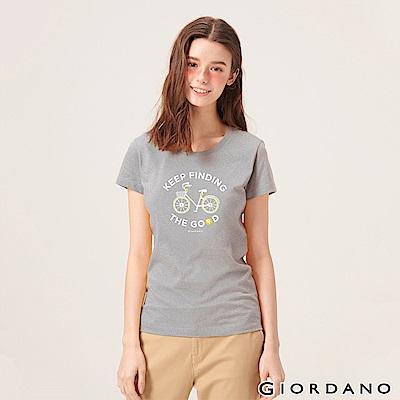 GIORDANO 女裝英文標語印花短袖T恤-43 中花灰