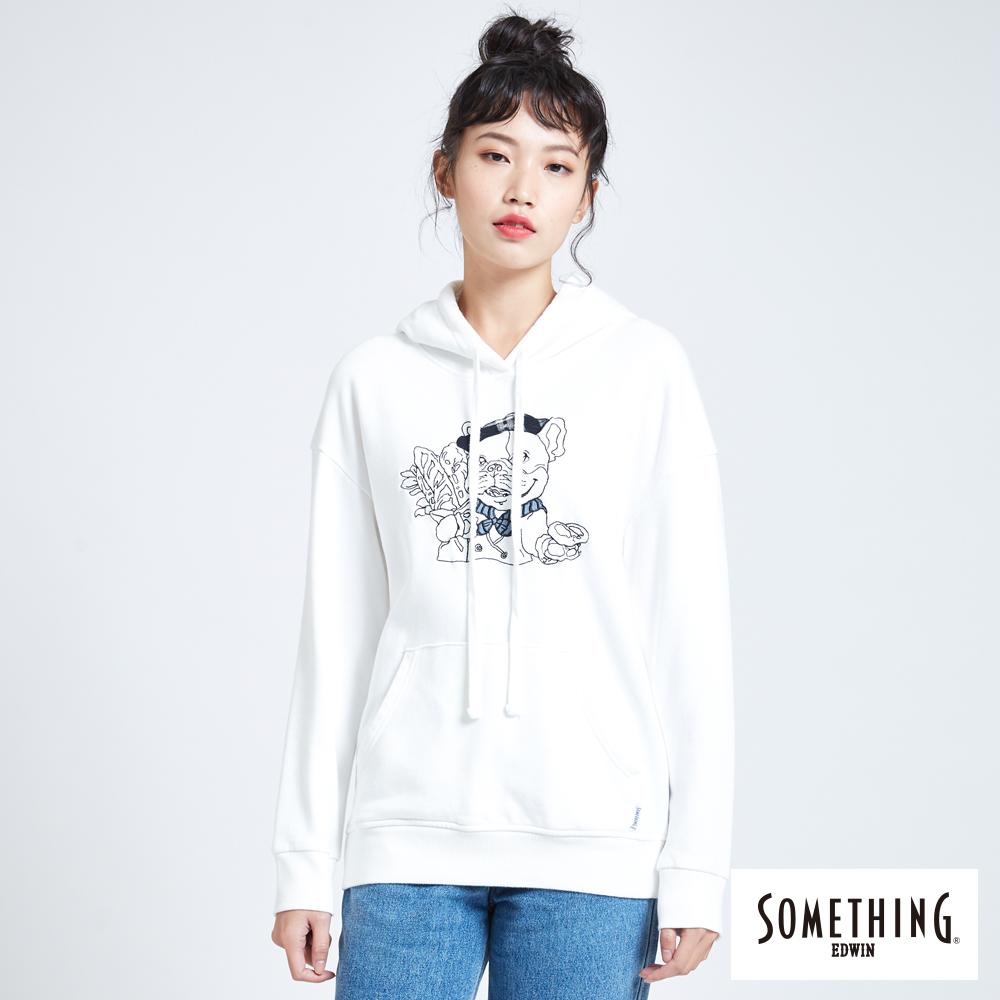 SOMETHING BONBON法鬥哥 基本繡花連帽厚長袖T恤-女-白色