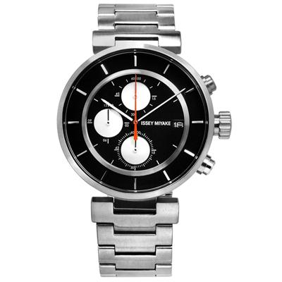 ISSEY MIYAKE 三宅一生W系列 和田智設計師計時不鏽鋼手錶-黑色/43mm