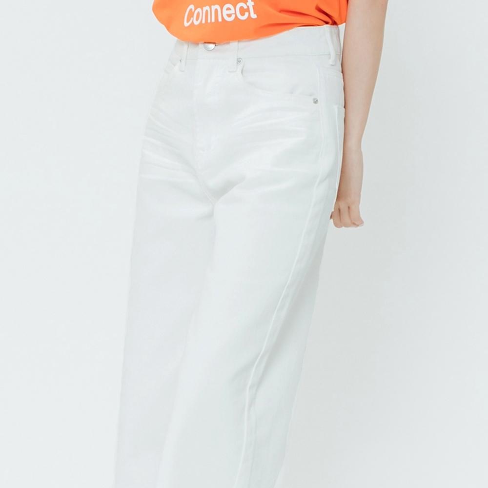 H:CONNECT 韓國品牌 女裝-抓皺修身牛仔寬褲-白