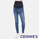 Gennies奇妮-微破損感撞色車線牛仔褲-藍(T4E04)