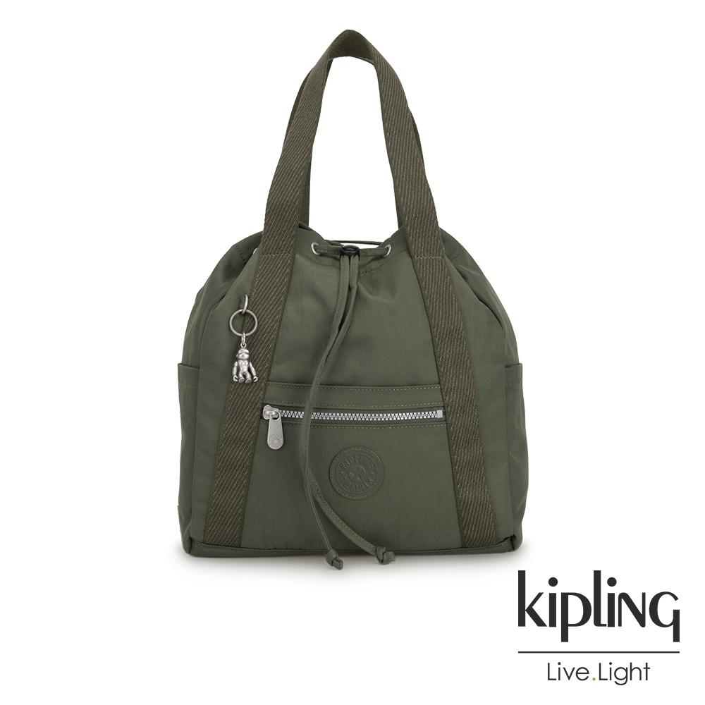 Kipling 歐風卡其墨綠兩用側背後背包-小-ART BACKPACK S