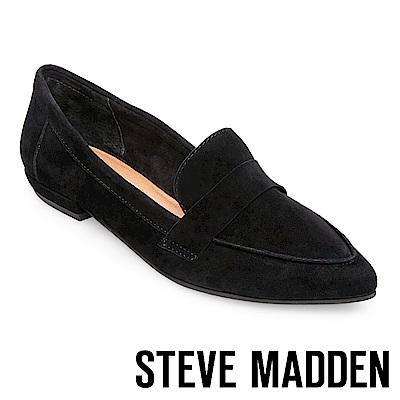STEVE MADDEN-CARVER-麂皮尖頭百搭樂福鞋-絨黑
