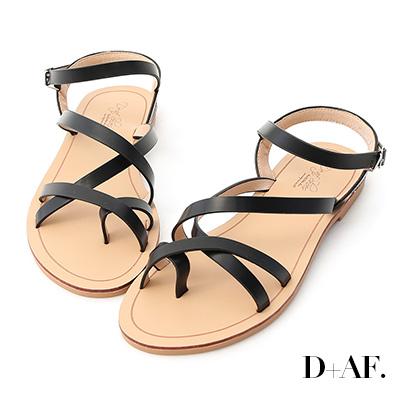 D+AF 輕快印象.交叉線條套指平底涼鞋*黑