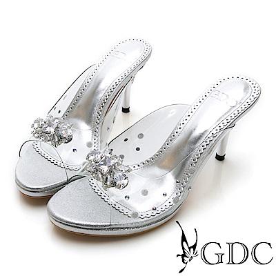 GDC-高貴水鑽玻璃感公主拖鞋-銀色